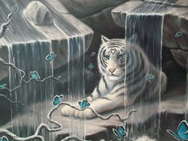 White Tiger In Waterfalls : detail by ChristopherPollari