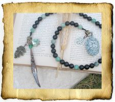 Greenman Pagan Prayer Beads by grimdeva