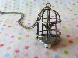 Vintage Bird cage Necklace by Rotting-Soul