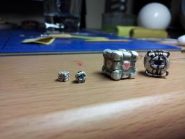 World's Smallest Wheatley and Companion Cube by CJEgglishaw