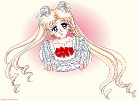Usagi with Cake Drawing by SuperShadowX