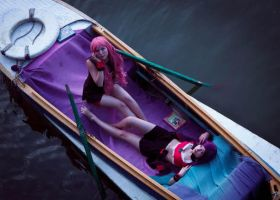 Utena and Himemia in a boat by AppolinaryI