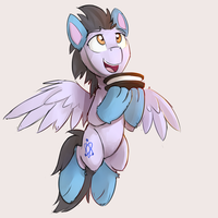 Pegasus with cat-paws socks holding a giant Oreo by Keponii