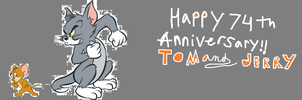 A Tom and Jerry 74th Anniversary Drawing by cartoonfan22