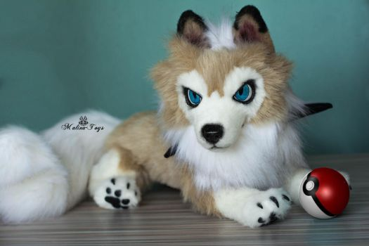Poseable lycanroc midday form pokemon by MalinaToys