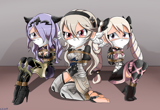Camilla, Corrin and Elise Bound and Gagged -Commis by gaggeddude32