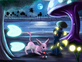 Umbreon Espeon- Beach Side by Deruuyo
