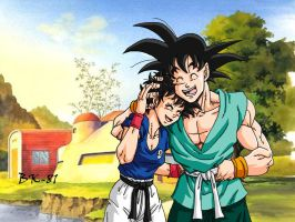 Gorin and Goku family time by BK-81