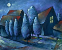 Moonlight oil paint by Boias