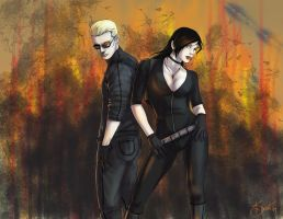 Noir and Wesker by hexacosm