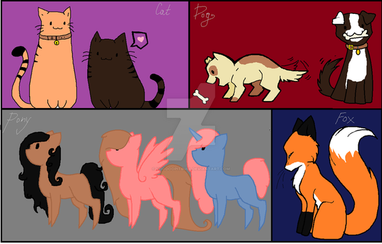 (open) 2 Point Animal Adopts by VoodooPitbull
