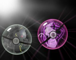 Umbreon and Espeon in their pokeballs by Mofoh