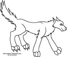 FREE LINEART - RUNNING WOLF by Zodiac97