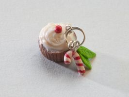 Christmas Polymer Clay Cupcake by LiquidFruit
