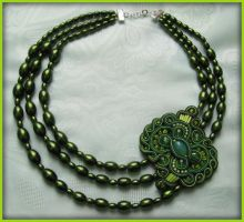 Green Corals with soutache element by GosiaBizu