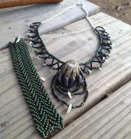 West of the Moon Necklace and Bracelet Set by TarpanBeadworks