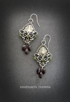 Earrings with garnet by nastya-iv83