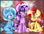 Trixie Twilight Sunset Shimmer  Merry Christmas by kyodashiro