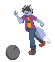 Bowling blue fox by afoxen