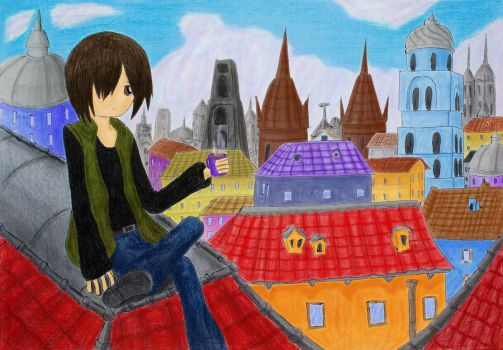 on the roof by Kanashii-Hito