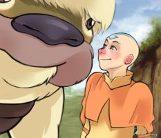 Aang and Appa by mikahla