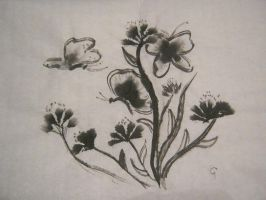 butterfly flowers sumi by Iolii