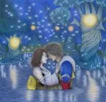 Tidus and Yuna - Macalania Woods by winry7405