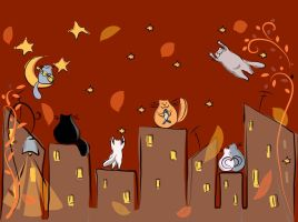 Autumn Cats by LilyRedHaired