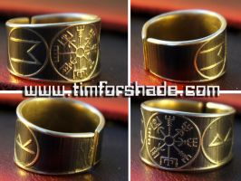Viking's Vegvisir Rune adjustable ring by TimforShade