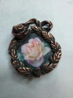 Pink Rose Copper Pendant by blonderella