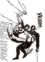 Scarlet Spider Vs Venom inked by mkscorpion202