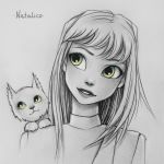 Cat on shoulder (traditional) by natalico