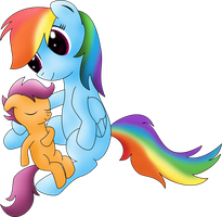 [ATG Day 13] Scootaloo sleeping in Dashie's arms by DataPony