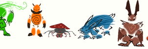 Drew dese creature thinngs by Moracalle