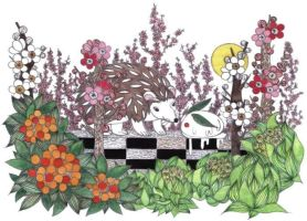 A hedgehog and a snowrabbit by 6-4-0