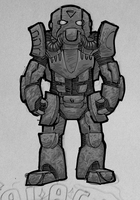 some power armored guy gimp ink by Psiweapon