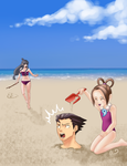 Ace Attorney at the Beach by LyndseyLittle