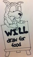 Satchel Pooch - Will Draw For Food - WIP by anonymousnekodos