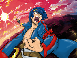 Gurren Lagann: Simon Colorize with background by luferrone