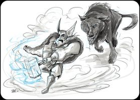 Thor vs Wolf by spewtank