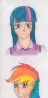MLP:FIM Humanized Twilight and Rainbow Dash by tod309