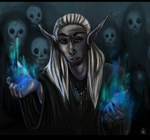 Dark elf mage by thatWeasel