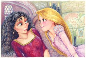 Rapunzel and Gothel Tangled by B-AGT