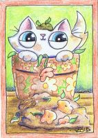 Funny cat is helping with the gardening by KingZoidLord