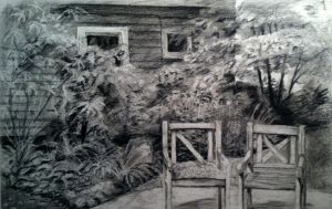 Plein Air Charcoal Drawing by emueller
