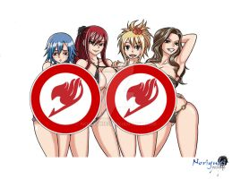 Commission: Fairy Tail Girls at summer (Censored) by Noriyuki83