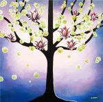 Lotus Flower Tree of Life Art Lavender Painting by hjmart