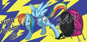 MLP - Rainbow Dash and Drum by liliy