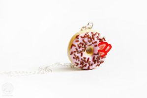 Donut necklace miniature jewelry by kukishop