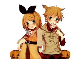 Rin and Len + Pumpkins Render by Lolipop16